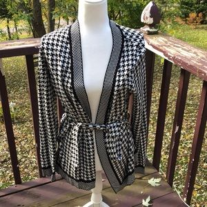 Charter Club Houndstooth Cardigan With Tie Waist